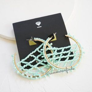 BaubleBar Beaded Crochet Hoop Earrings in Mint